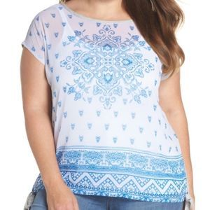 Vince Camuto side tie Medallion print top 7344